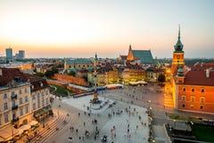 Odgórny widok stary miasteczko w Warszawa Obraz Stock