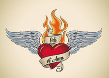 Odi et Amo (I hate and I love). Old-school styled tattoo of a flaming heart with blue wings. The motto Odi et Amo means I hate and I love in Latin. Editable vector illustration