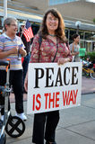 Odile Hugonot-Haber at peace rally, Ann Arbor, MI Stock Image
