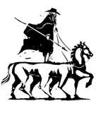 Odin Riding Sleipnir Arkivbild