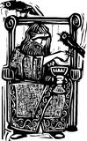 Odin on Throne. Woodcut expressionist style image of the Norse god Odin or Wotan sitting on a throne with his ravens stock illustration