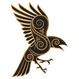 Odins Raven hand-drawn in Celtic style. Isolated on white, vector illustration Royalty Free Stock Photo