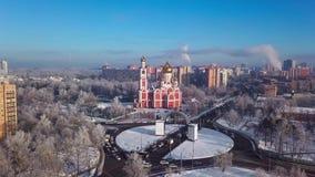 Odintsovo, Rusia Paisaje urbano aéreo del invierno almacen de metraje de vídeo