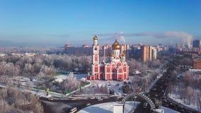 Odintsovo, Rusland Lucht de wintercityscape stock video