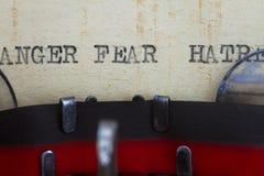 Odio y miedo de la cólera Imágenes de archivo libres de regalías