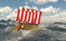 Odiseo y sus compañeros en el mar tempestuoso ilustración del vector