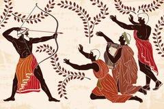 Odissea ed i corteggiatori di Penilope illustrazione vettoriale