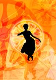 Odissi Dance Form and wheels. Wheel pattern from Konark Temple and a black dance figure of Odissi stock illustration
