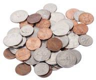 Odosobniony USA monet stos zdjęcie stock