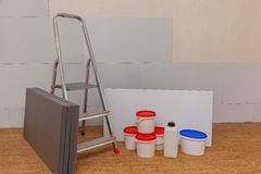 Odizolowywać panel i materiały budowlanych Zdjęcie Royalty Free