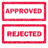 Odizolowywać zatwierdzone i odrzucone pieczątki Obraz Stock