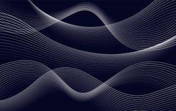 Odizolowywa abstrakcjonistycznego zmrok - błękitnego koloru linii falisty tło, wygina się tło wektoru ilustrację Zdjęcie Royalty Free