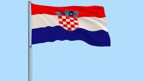 Odizolowywa flaga Chorwacja na flagpole trzepocze w wiatrze na przejrzystym tle, 3d rendering, PNG format z Alfa Chan