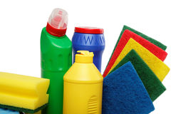Odizolowywać na biel Cleaning dostawy. Fotografia Stock