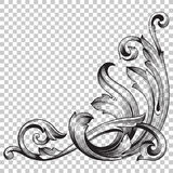 Odizolowywa narożnikowego ornament w baroku stylu Fotografia Stock