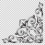 Odizolowywa narożnikowego ornament w baroku stylu Obrazy Stock