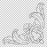 Odizolowywa narożnikowego ornament w baroku stylu Fotografia Royalty Free