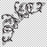 Odizolowywa narożnikowego ornament w baroku stylu Zdjęcie Royalty Free