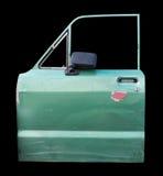 Odizolowywa starego zielonego samochodowego drzwi Obrazy Stock