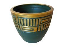odizolowywająca ceramiczna zieleń ornated nad garnka biel Obrazy Royalty Free