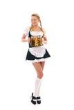Odizolowywająca nad biel bawarska dziewczyna obraz royalty free