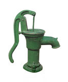 Odizolowywająca ręki stara zielona pompa wodna. Obrazy Stock