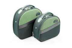 Odizolowywającego na biel dwa małego zielonego kasetonu   Fotografia Stock