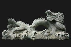 odizolowywający czarny chiński smok fotografia stock