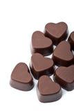 odizolowywający czekoladowi serca Obraz Stock