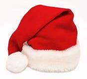 Odizolowywający na biel czerwony Święty Mikołaj pojedynczy kapelusz zdjęcia royalty free