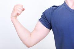 Odizolowywający na biel napinający bicepsy Zdjęcia Stock
