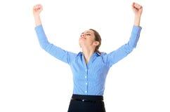 Odizolowywający na biel zwycięski bizneswoman, Fotografia Royalty Free