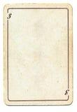 Odizolowywający na białym starym karta do gry papierze z liczbą trzy Obraz Stock