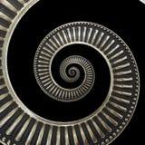 Odizolowywający na czarnym metalu abstrakta spirali tła wzoru fractal Kruszcowy tło, powtórkowy wzór Metalu ślimakowaty decorati Zdjęcia Stock