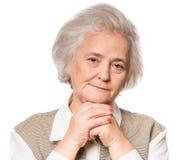 odizolowywający nad portreta seniora białą kobietą Fotografia Royalty Free