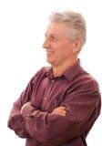 Odizolowywający przeciw biel szczęśliwy starszy mężczyzna zdjęcie royalty free