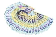 Odizolowywający rumuński pieniądze Zdjęcia Royalty Free