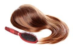 odizolowywający włosiany dandruff hairbrush obrazy stock