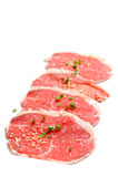 Odizolowywający wołowina plasterki Fotografia Stock