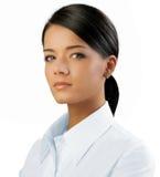 odizolowywająca atrakcyjna brunetka Zdjęcia Stock