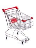 Odizolowywający na biel pusty wózek na zakupy Obraz Royalty Free