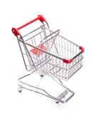 Odizolowywający na biel pusty wózek na zakupy Obraz Stock