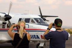 Odjazd śmigłowy samolot Obraz Stock