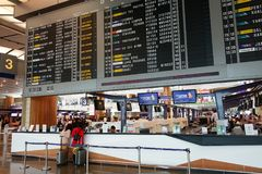 Odjazd deska w Terminal 3 przy Changi lotniskiem Zdjęcia Stock