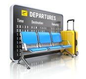 Odjazd deska z lotniskowym miejsca siedzące ilustracji