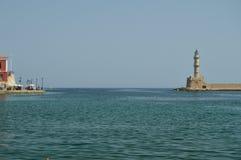 Odjazd Od portu Chania Z Swój Piękną latarnią morską Historii architektury podróż zdjęcia royalty free