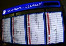 Odjazdu rozkład zajęć w Dubaj lotnisku zdjęcie royalty free