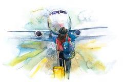 odjazdy Kobieta podróżnika abordażu samolot, tylni widok Dziewczyna przy lotniskiem wokoło wsiadać samolot royalty ilustracja