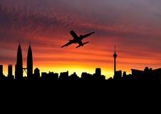 odjeżdżania Kuala Lumpur samolot Obrazy Royalty Free