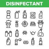Odkażalnik, Antibacterial substancja wektoru Cienkie Kreskowe ikony Ustawiać royalty ilustracja